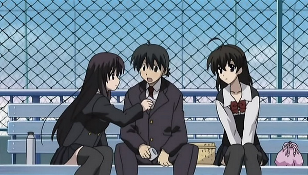 *Our main characters, sitting on a bench*